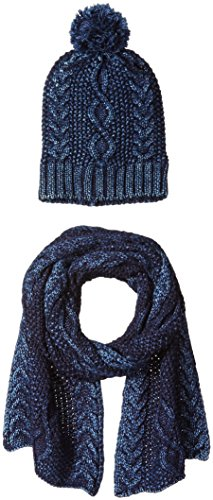 La Fiorentina Women's Cozy Gift Set with Cable Knit Beanie and Scarf, Denim, One Size by La Fiorentina