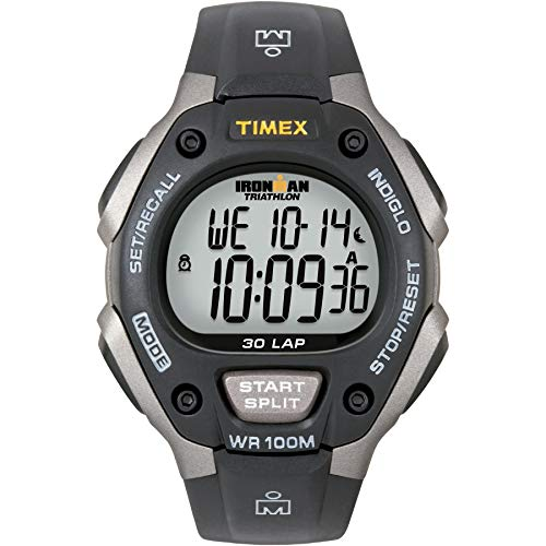 Timex Men's T5E901 Ironman Classic 30 Gray/Black Resin Strap Watch Black Dial Red Meter