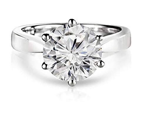 (jewelry by bruno 2 CRT D-E VVS1 Round Solitaire Engagement Ring with a 2.00 Carat Moissanite Center 18k white gold)