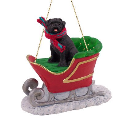 black pug dog in sleigh christmas ornament new