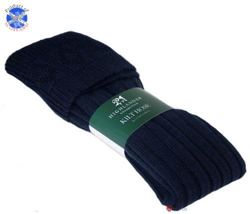 Chaussettes de tuyaux Kilt tricoté Cadrage Bleu marine