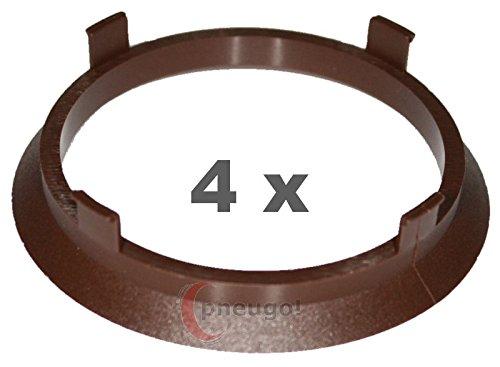 4 x Bague de Centrage plastique 70.1 mm vers 63.4 mm Marron Pneugo