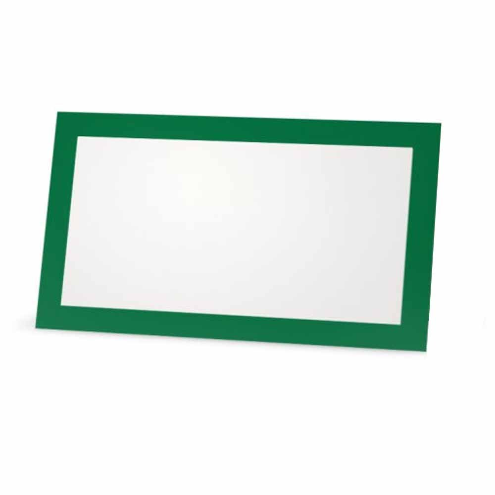 Occasion or Dinner Event Green Place Cards 50, Tent Style Placement Table Name Seating Stationery Party Supplies White Blank Front with Solid Color Border Flat or Tent 10 or 50 Pack