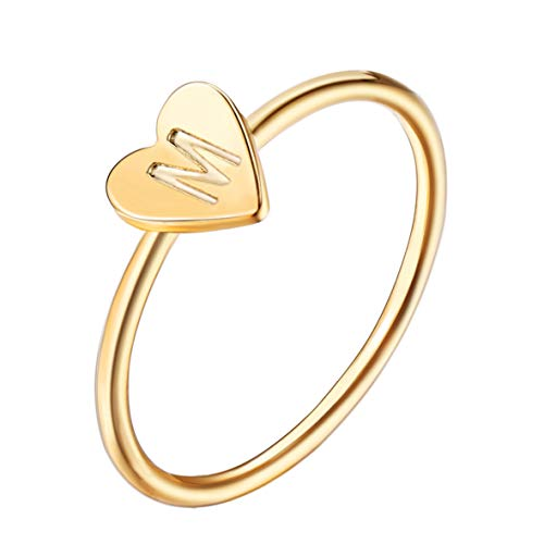 J Meng Fashion 26 Letter Alphabet Name Ring Women Custom A-Z DIY Initial Love Heart Engraved Bague Ring for Her Size 8 (M)