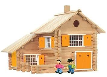 Jeujura jouet en bois maison en rondins pieces amazon