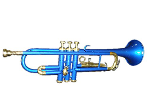 Queen Brass Trumpet Awesome Sound Looks Bb Pitch Brass Made Mp+Hardcase Blue