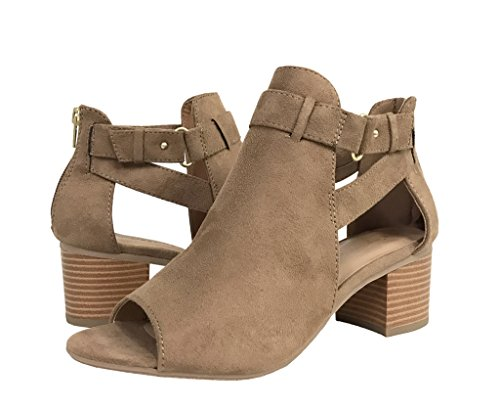 Side Heel Tan Lite Boots City Mid Chunky Cutout Strap Womens Suede Classified Ankle Faux Black Bootie Fashion wwO6q8tx