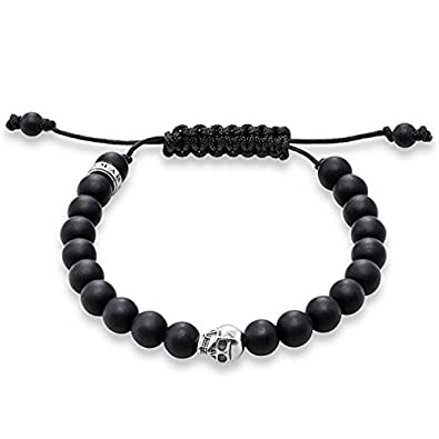 Thomas Sabo Women Men-Bracelet Rebel at heart 925 Sterling silver blackened Obsidian black Length from 15 to 21 cm A1118-172-11-M HyAM4dp