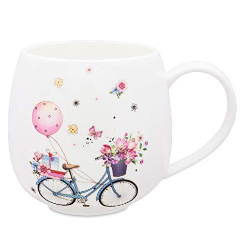 Large Coffee Mug Cute Fine Bone China Mug 12oz Tea Cup Happy Vacation Gift for Mom Friends Colleague ()