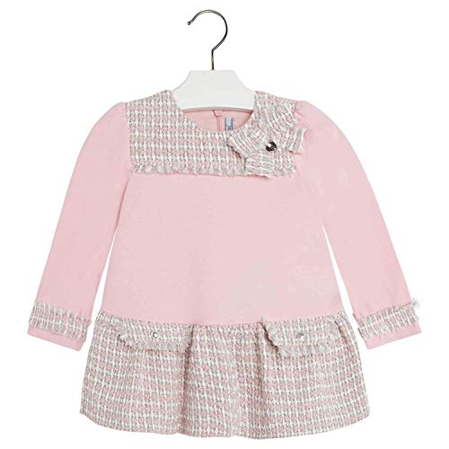 (Mayoral Chic Baby Girls 3M-24M Long Sleeve Knit to Metallic Tweed Dress in Rose (9 Months, Rose))