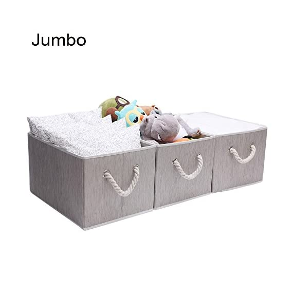 JS HOME Foldable Basket Organizer Bin, Polyester Storage Box with Strong Cotton Rope Handle, Grey, Jumbo, 3-Pack - Set of 3; Dimensions (each): 17.1 (L) x 12(W) x 10.2 (H) inches (43.5 x 30.5 x 26cm). Material: cotton, polyester. Made from durable and soft polyester canvas with strong cotton rope handle and thickened cardboards. This storage bins set will meet your long term storage needs This storage bins fit for standard cube shelf or closet shelf and can be quickly folded flat for storage when not in use - living-room-decor, living-room, baskets-storage - 41kAtcmP2vL. SS570  -