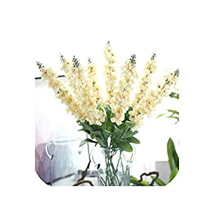 10PCS Delphinium Silk Flower Artificial Europe Wedding Hyacinth Flower Bouquet for Home Party Decoration Christmas Fake Flower 5