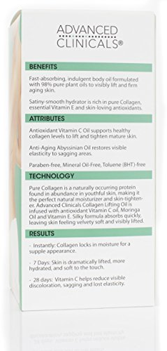 41kAthPMltL - Advanced Clinicals Collagen Lifting Body Oil with Vitamin C, Vitamin E fo neck, decollete, upper arms, thighs. 4oz. (Two - 4oz)