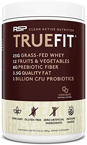 RSP TrueFit - Grass Fed Lean Meal Replacement Protein Shake, All Natural Whey Protein Powder with Fiber & Probiotics, Non-GMO, Gluten-Free & No Artificial Sweeteners, 2.0LB Choc (Packaging May Vary)
