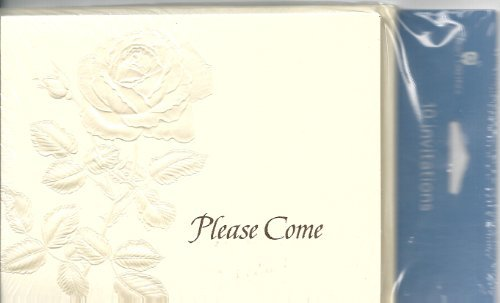 Please Come Shiny Embossed Rose Invitation 10 Count with Card and Envelopes by AGC