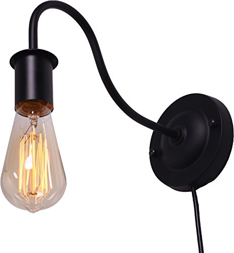 BRIGHTESS Retro Wall Sconces Light Wall Lamp Wall Mount Set of 2 Packs E26 Base Plug in Black Industrial Vintage Edison Wall Lamp Fixture Led Porch Light for Indoor Bathroom by BRIGHTESS (Image #1)