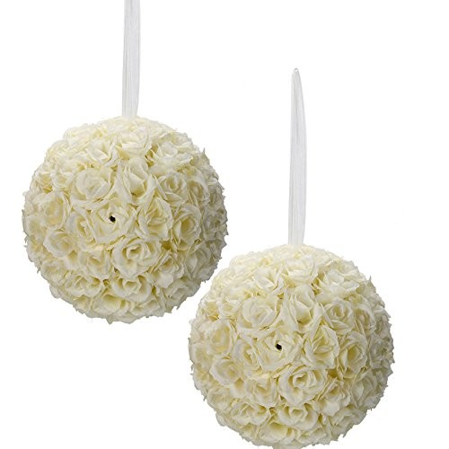 9.84 Inch Satin Flower Ball for Bridal Wedding Artificial Wedding Party Ceremony Decoration Ivory by MicroMall