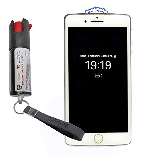 Cell Phone Stun Gun Pepper Spray Keychain Self Defense Weapons Kit. 1) Disguised Taser To Look Like A Smart Phone 1 Mini Non-Lethal Police Defence Spray Best Protection Tools For Men Or Women (WHITE) (Phone Case With Taser And Pepper Spray)