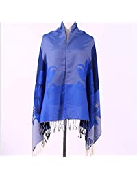 LJHA Arf, Female Autumn and Winter Horse Pattern Long Section Thick Warm Big Shawl 6 Color Optional (Color : Blue)