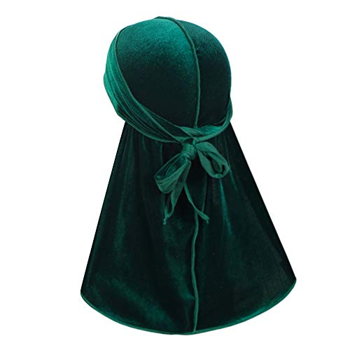 Luxury Velvet Wave Durag - Silky Durag Headwraps with Extra Long Tail for 360 Waves Green