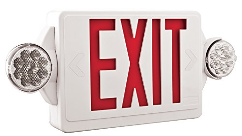 Lithonia Lighting LHQM LED R HO M6 Quantum 2-Light LED Polycarbonate Emergency Exit Sign / Fixture Unit Combo