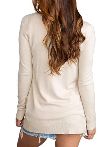 Dokotoo Womens Ladies Fashion Thin Autumn Fall Knit Soft Solid Open Front Long Sleeve Short Cardigan Sweater Outwear with Pockets Apricot Large by Dokotoo (Image #1)