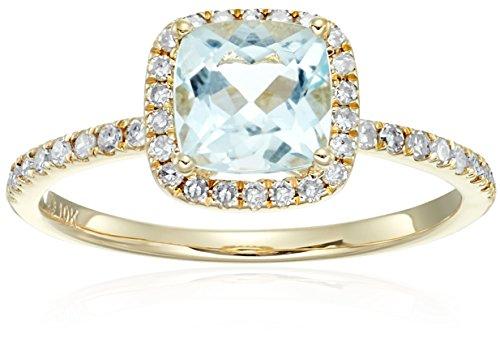 10k Yellow Gold Aquamarine and Diamond Cushion Halo Engagement Ring (1/4cttw, H I Color, I1 I2 Clarity), Size 7
