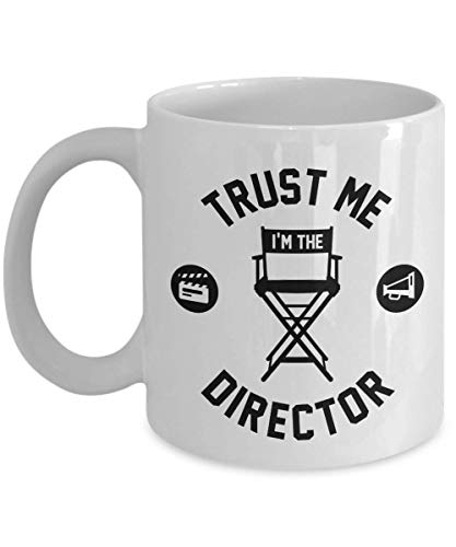 Trust Me I'm The Director With Chair, Clapper Board And Megaphone Filmmaking Themed Coffee & Tea Gift Mug, Stuff, Décor, Collection Items And Accessories For Film Makers & Movie Directors -