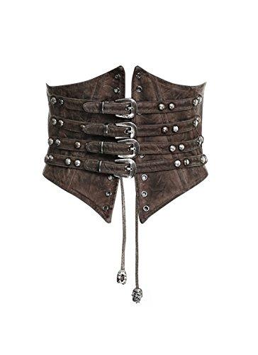 Punk Rave Steampunk Vintage Leather Lace-Up Underbust Corset Belt High Waist Cincher Waspie Belt for Women Accessories CoffeeM-L
