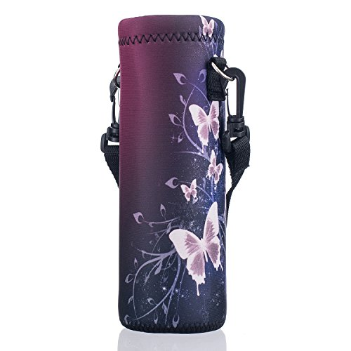 AUPET Water Bottle Carrier,Red Butterfly 500ML Water Sport Bottle Cover Pouch Insulated Soft Sleeve Holder Case +Shoulder Strap