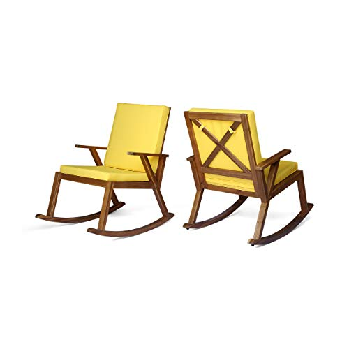 Great Deal Furniture Champlain Outdoor Rocking Chairs Acacia Wood Cushioned Mid-Century Modern Teak Finish with Yellow Cushions Set of 2