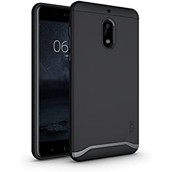 Nokia 6 Case, TUDIA Slim-Fit HEAVY DUTY [MERGE] EXTREME Protection / Rugged but Slim Dual Layer Case for Nokia 6 (Matte Black)