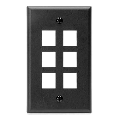 Leviton 410806EP (41080-6EP) QuickPort Single-Gang 6-Port Wallplate (Black) - Blank Filler Module