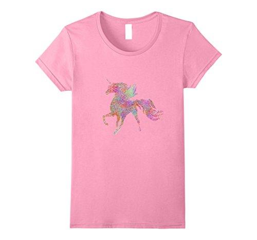 (Womens Cute Rainbow Glitter Beautiful Unicorn T Shirt Medium Pink)