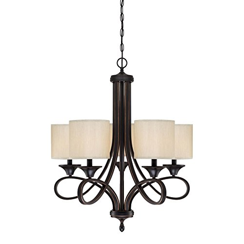 Westinghouse Lighting 6302900 Lenola Five-Light Indoor Chandelier, Amber Bronze Finish with Beige Fabric Shades ()