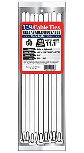 [해외]미국 케이블 타이 RSD11N50 11 인치 탈착 가능 타이, 내츄럴, 50 팩/US Cable Ties RSD11N50 11-Inch Releasable Ties, Natural, 50-Pack