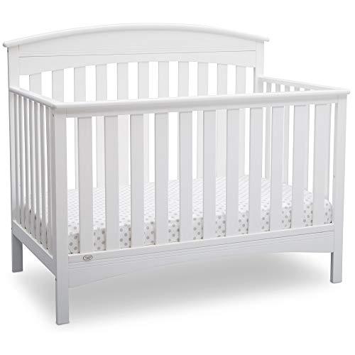 Delta Children Bennington Elite 4-in-1 Convertible Baby Crib, Bianca White, Arched
