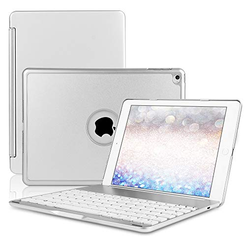 HISSP New ipad 9.7 Keyboard case for iPad 9.7 2018 (6th Gen) - iPad 9.7 2017 (5th Gen) - iPad Air 1 - Thin & Light - 130 Rotating - - Color Silver Keyboards