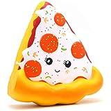 Kiibru Squishies Pizza Squishy Toys Funny Slow Rising Jumbo Cartoon Bread Scented (White)