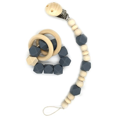 Amyster Wooden Baby Teether Ring Wood Pacifier Clip Organic