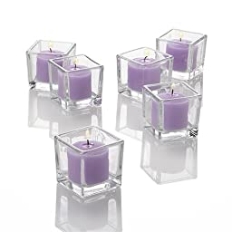 Set of 12 Lavender Richland Votive Candles and 12 Square Votive Holders