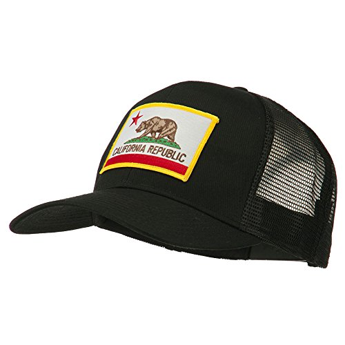 State Hat Cap (California State Flag Patched Twill Mesh Cap - Black OSFM)