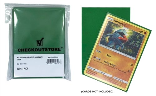 CheckOutStore 10,000 Double Matte Green Protective Sleeves for Trading Cards (66 x 91 mm)