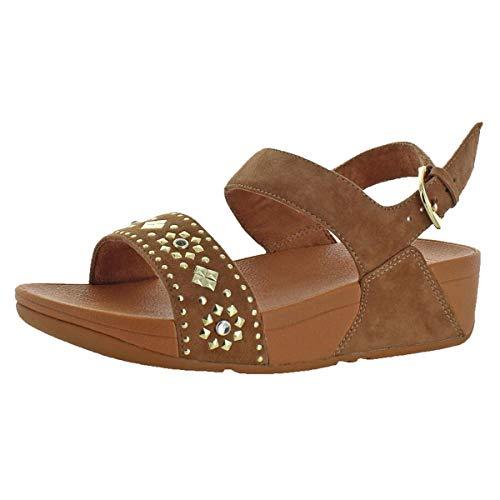 (FitFlop Women's LULU Aztek Stud Back-Strap Sandals, Caramel, 7 M US)