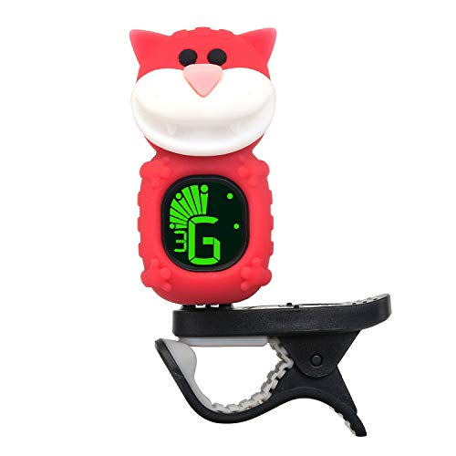 Guitar Tuner Clip-On with LCD Display for All String Instruments with Bass, Ukulele,Violin Accessories (cat-red)