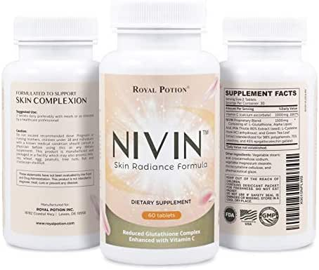 NIVIN Max Potency Reduced L-Glutathione Complex 1500mg Skin Whitening & Lightening Pills All Antioxidants w/ Alpha Lipoic Acid, Vitamin C, Milk Thistle, L-Cysteine, Green Tea Extract | 60 Tablets