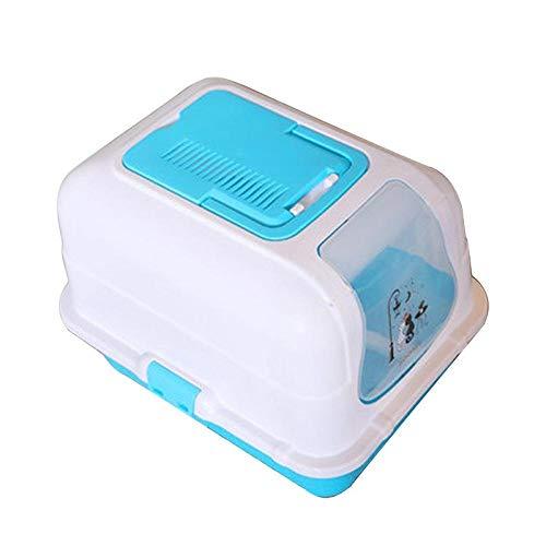 MASAP Cat Litter-Cat Litter Cat Toilet Fully Enclosed Cat Pot Fat Cat Anti-Splashing Deodorant Cat Sand Table Cat Pot Pull Semi-Closed 10 Kg ()