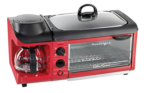 Nostalgia BSET300RETRORED Retro Series 3-in-1 Family Size Breakfast Station (Toaster Oven And Coffee Maker compare prices)