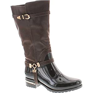 Forever Clara-25 Womens Fashion Two Tone Knee High Motorcycle Rain Boots,Dark Brown,10