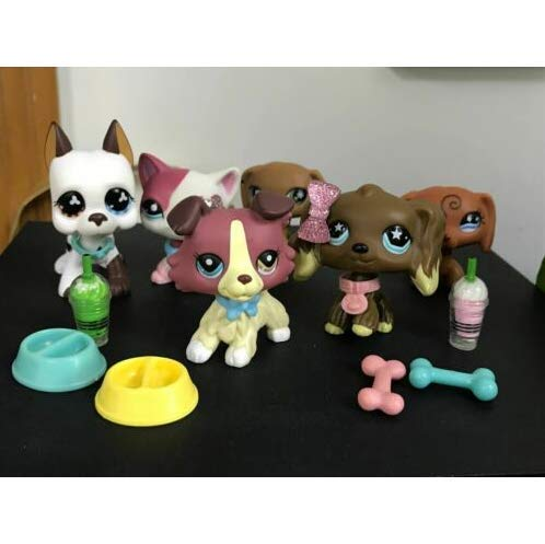 Pet Shops Littlest LPS Collie Short Hair Cat 391 Dachshund Dog Rare Toy 6PCS